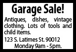 Garage sales for Garage ad distribution
