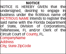sunsentinel portal legal notices fictitious name legal notices