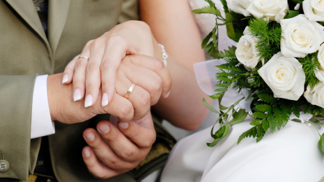 Celebrations: Husband and wife holding hands